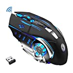 Xmate Zorro Pro 3200DPI, Rechargeable 2.4Ghz Wireless Gaming Mouse with USB Receiver, 6 Button, 7 Colors Backlit for...