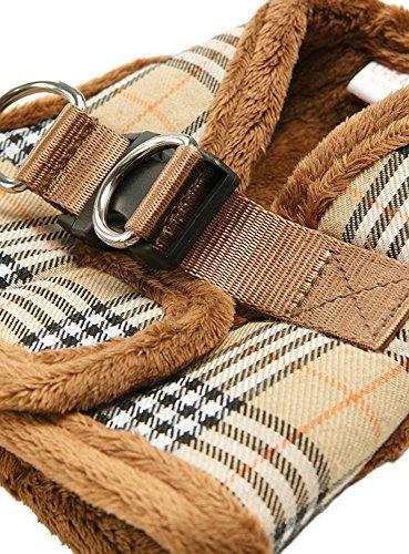 "UrbanPup Luxury Fur Lined Brown Tartan Harness (X-Large - Dog Chest Circumference: 21"" / 53cm) 2"