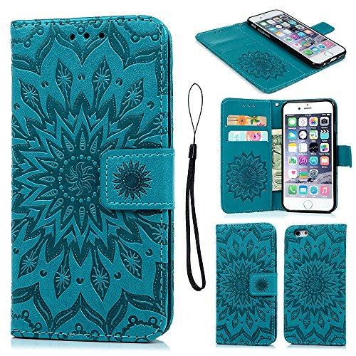 Geniric Handy Hülle für iPhone 6S 6 PU Leder Flip Wallet Cover Stand Case Card Slot Leder Tasche Karteneinschub Magnetverschluß Kratzfestes (Blau Sonnenblume)