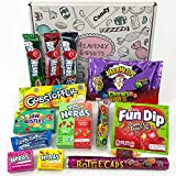 Kleiner Geschenkkorb mit Amerikanische Vegane Süßigkeiten | Retro Süßwaren | Auswahl beinhaltet Nerds Gobstopper Warheads | 14 Produkte in einem Retro Süßigkeitenkorb