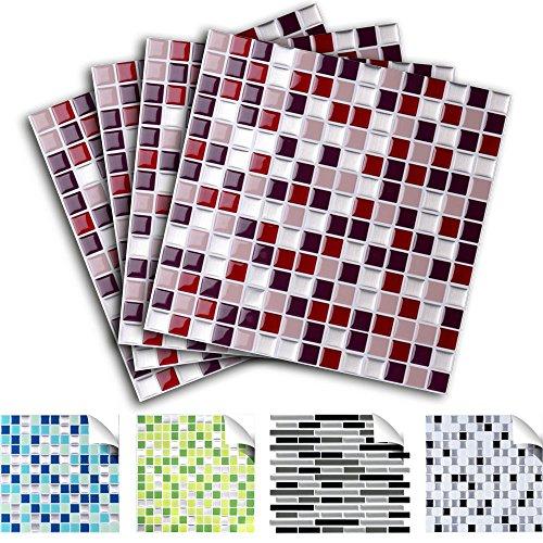 4 pezzi set 25,3 x 25,3 cm adesivo per piastrelle rosso beige argento Design 2 I autoadesivo 3D adesivi mosaico adesivi in foglio di piastrelle cucinino cucinotto bagno Grandora W5291