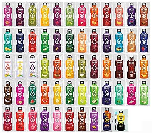 Bolero Getränkepulver Mixbox mit ALLEN 58 Sorten + Sportnahrung Wehle Shaker 750ml I zuckerfreies Getränkepulver mit Stevia gesüßt I Mixbox zum Testen aller Geschmäcker (9g je Beutel) (Mango Sirup Aroma)