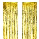 Sunbeter 2 Pack Metallic Tinsel Tende Foil Fringe Tenda Shimmer per Porte e finestre Decorazione per la festa di compleanno (Oro, 39.3x118.1 In)