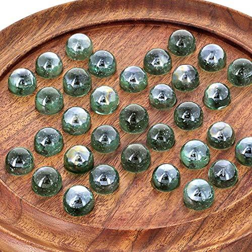 ShalinIndia 3278 Handgefertigt Indisch Runden Holzspielbrett Geschenke Mit Glasmurmeln Eingestellt, Holz Braun 9 inches