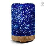 Aroma Diffuser 100ml Luftbefeuchter Oil Düfte Humidifier 3D Glas LED mit 16 Farben für Yoga Salon Spa Wohn-, Schlaf-, Bade- oder Kinderzimmer Hotel