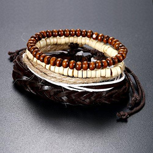 5 Stück Herren Armband Leder Armband Armbänder Schmuck Set braun weiss , Vintage Breite Geflochten Lederarmband Surferarmband Armreifen , verstellbar - 5
