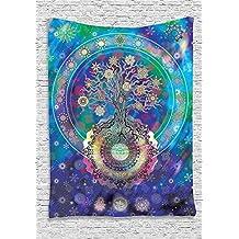 QCWN - Tapiz con diseño de mandala árbol de la vida, estilo étnico y espiritual