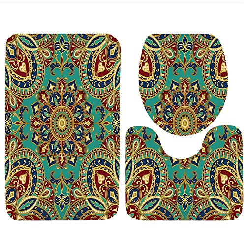Bag hat Three-Piece Toilet seat pad customMandala Collection Pastel Mandala Indian Symbol of Lotus Flower with Square and Triangles Artsy Work Purple Cream Teal - Dusty Cream