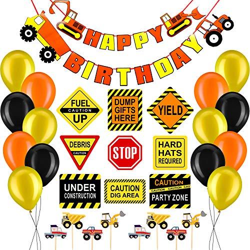 Chinco 64 Stück BAU Geburtstag Party Liefert Kipper Party Dekorationen Kits Set für Kinder BAU Themen Party Dekorationen - 30. Supplies Party Geburtstag Kit