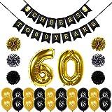 Kit de décorations d'anniversaire, Konsait Cheers à 60 ans anniversaire bannière, numéro 60 Balloons Géant, 20pcs noir or ballon en latex, Pompon Fleur pour Décoration de Fête D'anniversaire de 60 ans