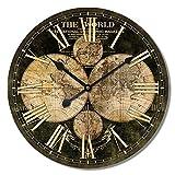 Alice's Collection - Große Vintage runde Wanduhr aus Holz von MDF - Shabby Chic Style Clock Geeignet für Wohnzimmer Küche & Schlafzimmer | Durchmesser 60cm (NO4)