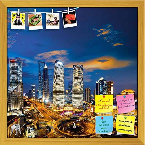 Artzfolio Shanghai Skyline At Night China Printed Bulletin Board Notice Pin Board | Golden Frame 20 X 20Inch