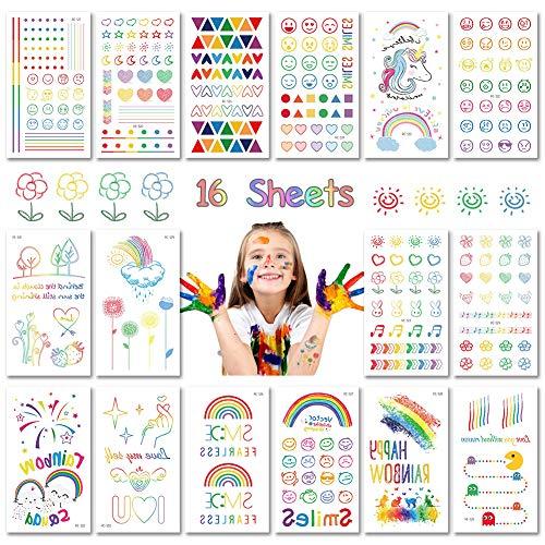 Bibivisa 120x Regenbogen Temporäre Tattoos für Kinder, Farbe Klebe Tattoo Wasserdichter Festival Körperkunst Aufkleber Tätowieren für Mädchen Sommer Deko -