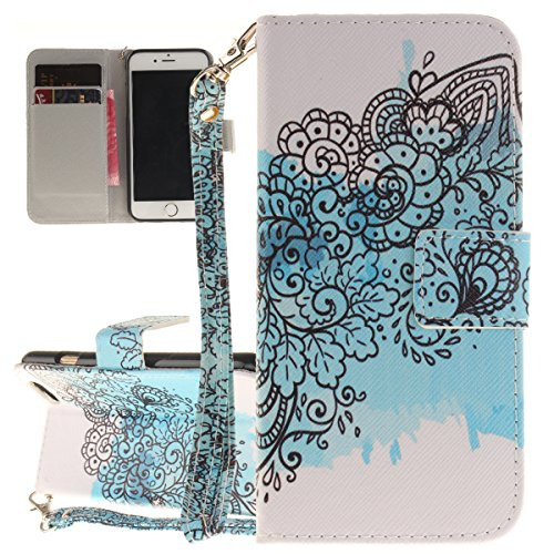 iPhone 6S Hülle, iPhone 6 Hülle, ISAKEN iPhone 6S 6 Hülle Muster, Handy Case Cover Tasche for iPhone 6S / 6, Bunte Retro Muster Druck Flip Cover PU Leder Tasche Case Schutzhülle Hülle Handy Tasche Etu Blau Blumen