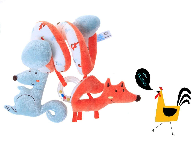 Labebe Carro Juguete, Cochecito Juguete para Bebé de 3 Meses y Más, Colgante Espiral Bebé con Zorro Naranja y Ardilla Azul, Carro Bebé Juguete/Carro Bebé/Colgante Bebé/Cochecito Bebé Juguete/Cochecito Bebé/Cochecito Muñecas Juguete/Colgante Mordedor