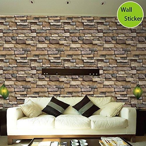 (Retro Tapete Brick 3D selbstklebend, 100?x 45?cm, stein Tapete Dekoration Wand Aufkleber f?r Wohnzimmer - Rock pieces)