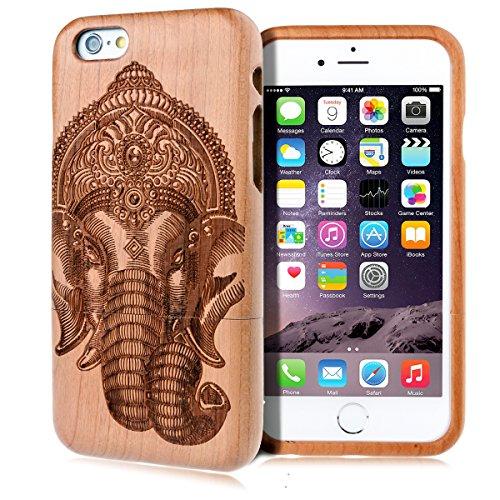 GrandEver Hand Natürliche Bambusholz Fest Schutzhülle Hard Case für iPhone 6 6S Plus (5.5') Case Cover Shell Telefon Schutzhülle Etui Handy Tasche Hülle für iPhone 6 6S Plus (5.5') (Löwenzahn) Elefant