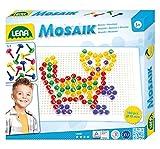 Lena 35601 - Mosaik Steckspiel Set mit 130 transparent farbigen Mosaikstecker je 10 mm und Stiftplatte 21 x 16 cm, Steckmosaik für Kinder ab 3 Jahre, mit Steckvorlagen Tiere, Blumen und Fahrzeuge