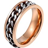 PAMTIER للرجال تصميم سلسلة 8MM الفولاذ المقاوم للصدأ خاتم الزفاف