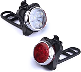 LED Fahrradbeleuchtung, Fahrradlichter USB Wiederaufladbare Frontlicht und Rücklicht Set, Wasserdicht USB LED Fahrradlicht Fahrradlampe, 4 Licht-Modi, 2 USB-Kabel für Mountainbike Fahrrad