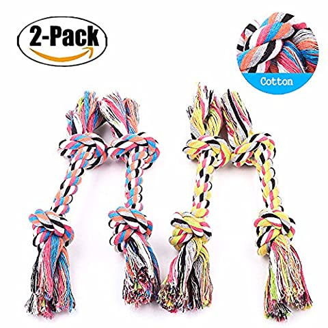Chickwin Pet Interactive Toy, 2PC Dog Chew Knots Rope For Dogs Teeth Cleaning Cotton Rope Dog Toy Ball / Frisbee/ knot toys Random Color (A)