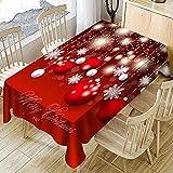 Ansenesna Tischtuch Rot Weihnachten Rechteckig Tischdecke Stoff Abwaschbar Gartentischdecke Weihnachtlich Deko Für Festlich Party (Rot, 150x260cm)