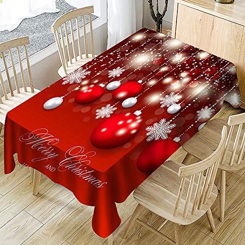 Ansenesna Tischtuch Rot Weihnachten Rechteckig Tischdecke Stoff Abwaschbar Gartentischdecke...