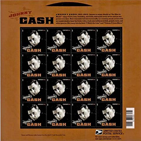 Johnny Cash Stamp sheet of 16 x Forever U.S. Postage Stamps New Mint by USPS