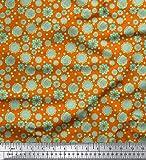 Soimoi Orange Samt Stoff künstlerische Blüte &