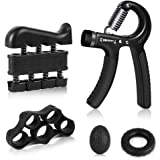 Vegena Handtrainer Fingertrainer Set, 5 in 1 Hand Trainingsgerät Unterarmtrainer Einstellbar Hand Grip Griffball & Ring, Finger Stretcher, Handmuskeltrainer für Klettern Fitness Therapie (5-50kg)