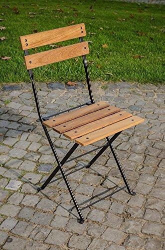 CLP Klappstuhl PALU aus galvanisiertem Eisen | hochwertiger Teakstuhl | klappbar | Sitzhöhe von 47...