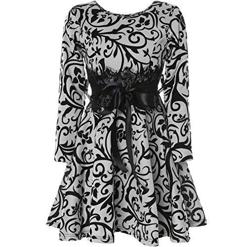 er Spitze Kleid Peticoatkleid Festkleid Langarm 21639, Farbe:Weiß, Größe:164 (Größe 14-mädchen-kleider)