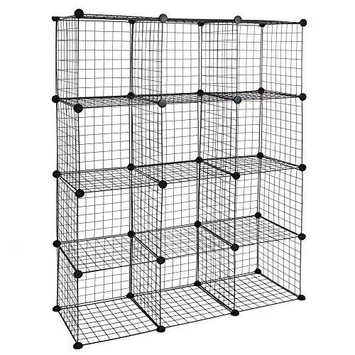 PrimeMatik - Armario Organizador Modular Estanterías de 12 Cubos de 35x35cm Metal Negro