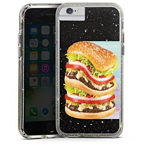 Apple iPhone 6s Bumper Hülle Bumper Case Glitzer Hülle Burger Hamburger Meat Bumper Case Glitzer gold