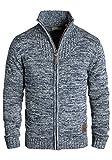 !Solid Pomeroy Herren Strickjacke Cardigan Grobstrick Winter Pullover mit Stehkragen, Größe:L, Farbe:Insignia Blue (1991)