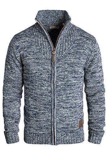 !Solid Pomeroy Herren Strickjacke Cardigan Grobstrick Winter Pullover mit Stehkragen, Größe:M, Farbe:Insignia Blue (1991)