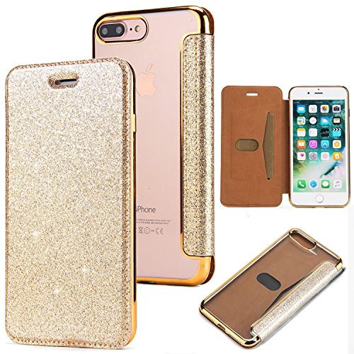 iPhone 6 Plus Handyhülle,iPhone 6S Plus Hülle,WIWJ PU Cover Case Leder Bling Schutzhülle Case[2 in 1 Glitzer TPU+Leder Kasten]Hülle für iPhone 6 Plus/iPhone 6S Plus-Golden