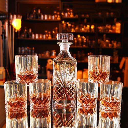 LDG - Juego de 7 decantadores de Whisky de Cristal, diseño de Botella de Vino