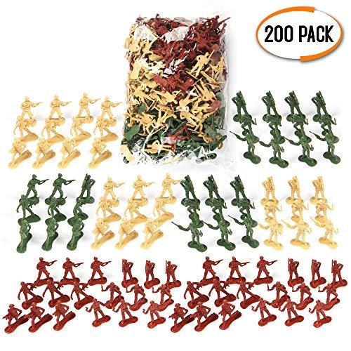 THE TWIDDLERS 200 Kit Soldatini Militari Plastica - Soldatini Giocattoli Militari Campi di Battaglia - Giochi di Guerra Regalini Festa, Ricompense Classe E per Riempire I Sacchetti Regalo per Bambini