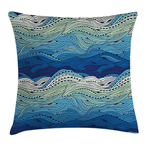 KLYDH Aquatic Throw Pillow Cushion Cover by, Conceptual Ocean Themed Artwork Hand Drawn Waves Seascape Maritime, Decorative Square Accent Pillow Case, 18 X 18 Inches, Blue Light Blue Mint Green -