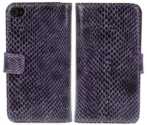 DONZO Tasche Handyhülle Cover Case für das Apple iPhone 4 / 4S in Violett Wallet Snake-Style als Etui seitlich aufklappbar im Book-Style mit Kartenfach nutzbar als Geldbörse Wallet Snake-Style Violett