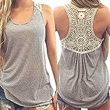 Bescita Lässige Tank-Tops Plus Size T-Shirt Frauen Sommer Spitze Weste Top Kurzarm Bluse S M L XL XXL XXXL (Grau, S)