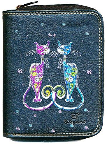 Portemonnaie, Schwarz, Mehrfarbig (Katzenmotiv) (schwarz) - pmonnaie-chat