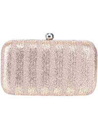 Tarusa Clutch With Gold And Brown Stripes Textured Fabric For Women