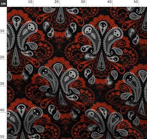 Halloween, Geist, Viktorianisch, Paisley, Damast, Grab Stoffe - Individuell Bedruckt von Spoonflower - Design von Thecalvarium Gedruckt auf Bio Musselin