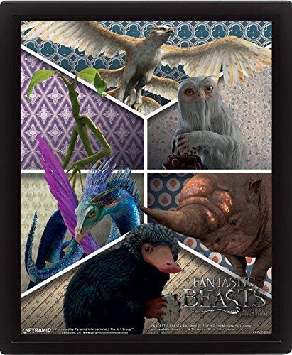 Preisvergleich Produktbild 1art1 102851 Phantastische Tierwesen Und Wo Sie Zu Finden Sind - Entfesselte Tierwesen 3D-Poster (gerahmt) 25 x 20 cm
