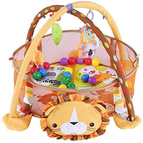 Alfombra de juegos para bebé, gimnasio y actividad, alfombra de juego y bola con laterales de malla...
