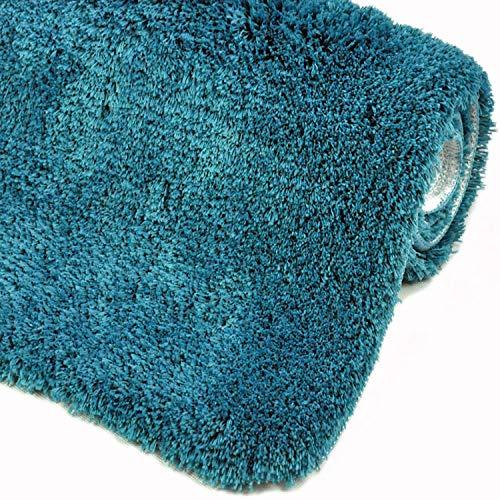WohnDirect sehr Flauschige Badematte - Rutschfester Badteppich - Waschbar, Microfaser, Duschvorleger, Badezimmerteppich - 50x80cm - Farbe: Petrol
