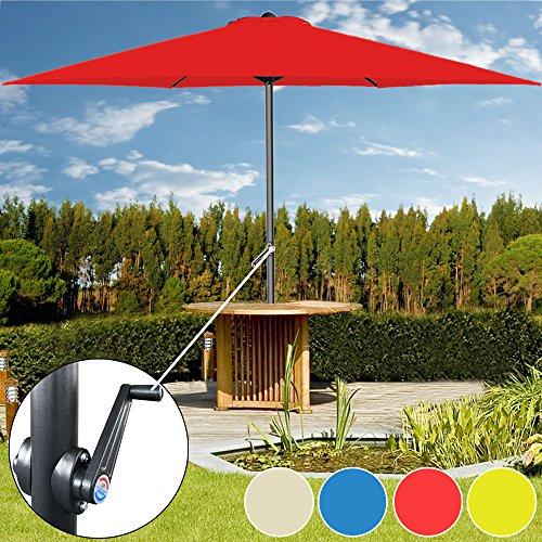 Kurbelsonnenschirm Ø300cm mit Kurbel + Dachhaube beige - Sonnenschirm Marktschirm Gartenschirm