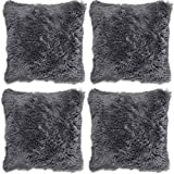 "4 x Long Pile Super Soft and Cuddly Shaggy 17x17"" (43x43cm) Cushion Cover, Charcoal"
